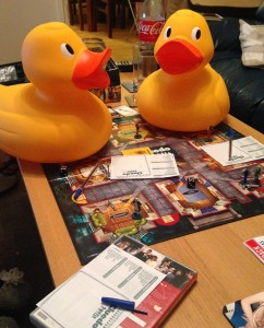 Big ducks playing Cludo